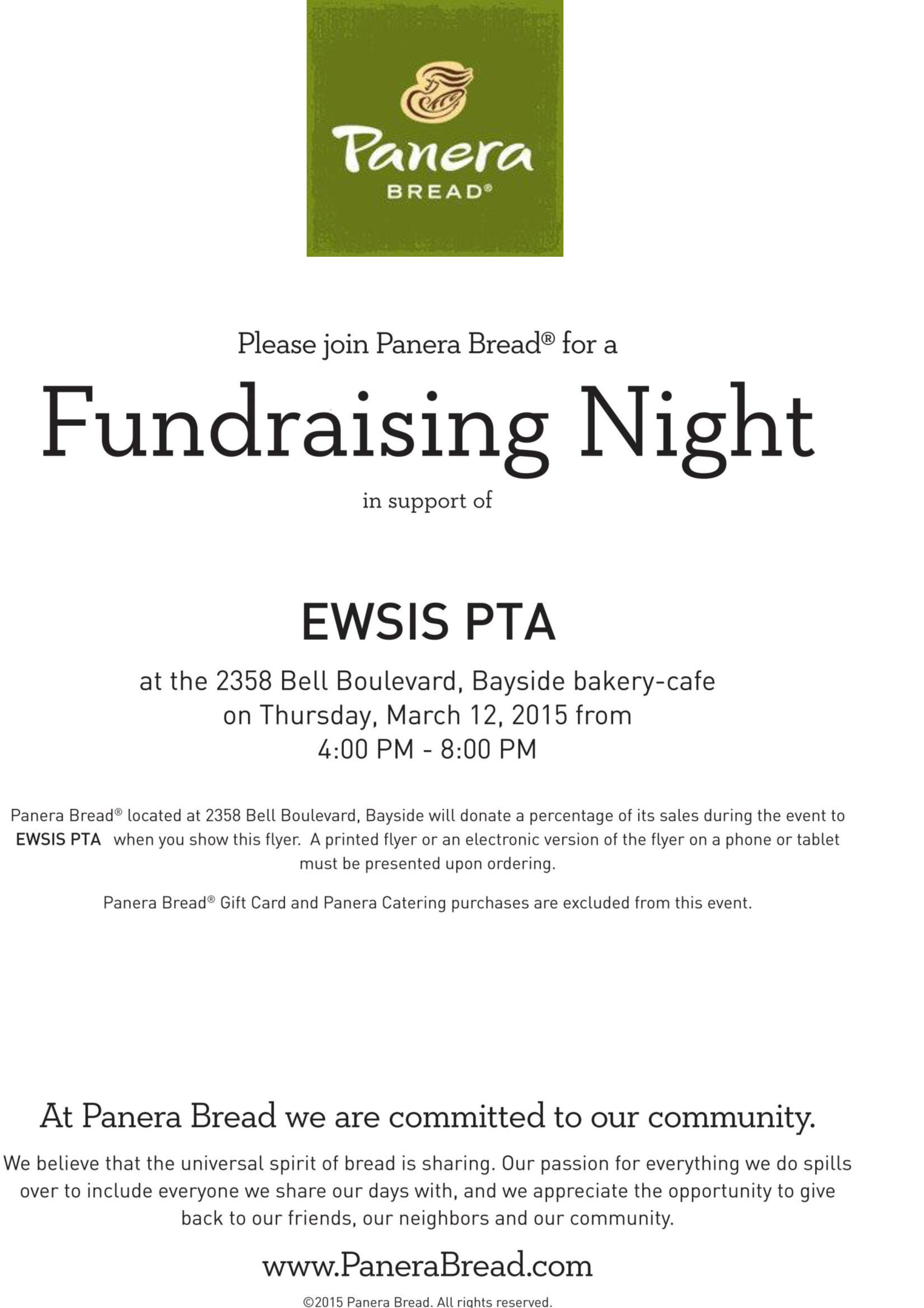 PTA Panera Bread Fundraiser | East-West School of International Studies