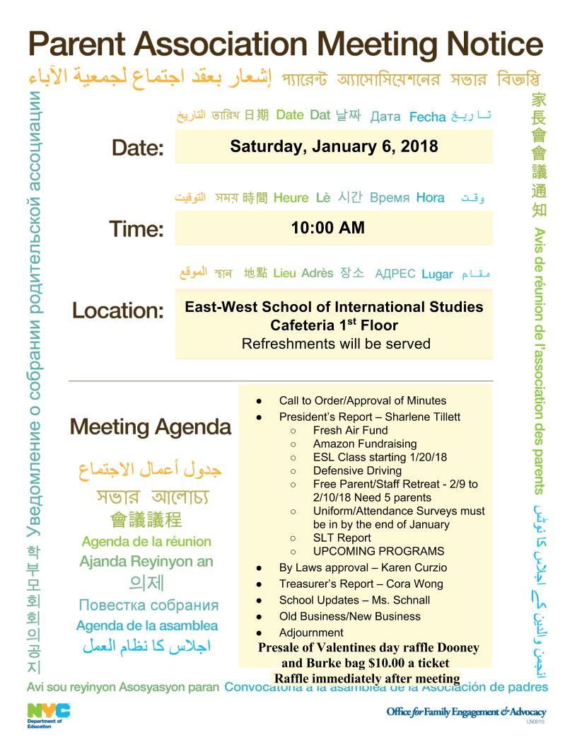 News and meeting announcements east west school of international january 6 pta meeting draft pta bylaws for approval stopboris Gallery